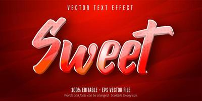 Red and Orange Sweet cartoon style editable text effect vector