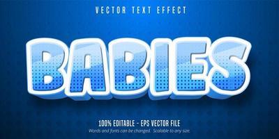 Babies cartoon style editable text effect vector