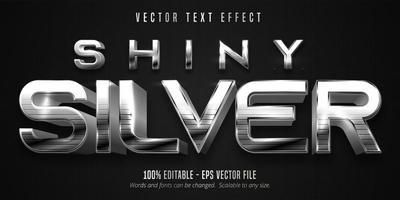 efecto de texto editable de estilo metálico plateado brillante