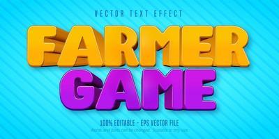 efecto de texto editable de estilo de dibujos animados de juego de granjero vector