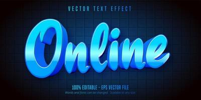 Blue metallic online game style editable text effect vector