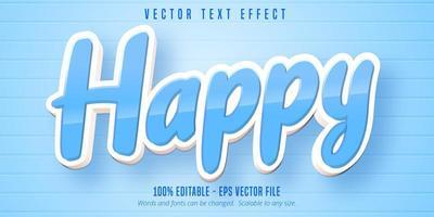 efecto de texto editable de estilo de dibujos animados feliz azul brillante vector