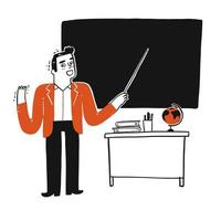 Teacher in class with a blank blackboard  vector