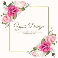 Pink Floral Rose Wedding Invitation vector