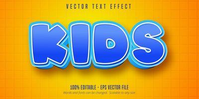 efecto de texto editable de estilo de dibujos animados de niños rayas azules