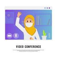 Young hijab girl video conference design vector