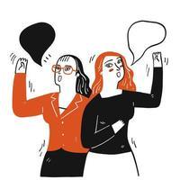 mujeres con burbujas de discurso