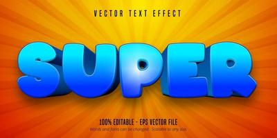 Glossy blue super cartoon style editable text effect vector