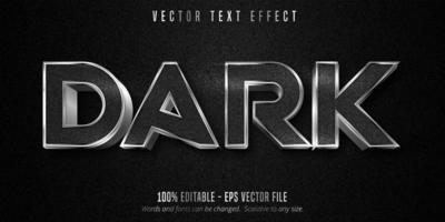 efecto de texto editable de contorno plateado metálico oscuro