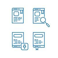 Set of book and e book icons