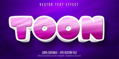 Pink and white toon cartoon style editable text effect