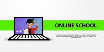 online schoolbanner met schattige jongen op laptop scherm