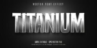 efecto de texto editable estilo plata metalizado a rayas de titanio