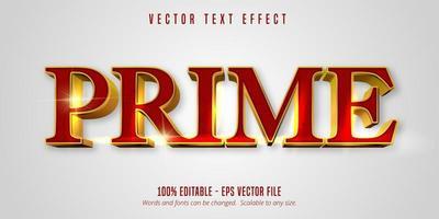 Rot und Gold Prime glänzender bearbeitbarer Texteffekt vektor
