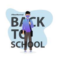 joven estudiante con máscara volviendo a la escuela vector