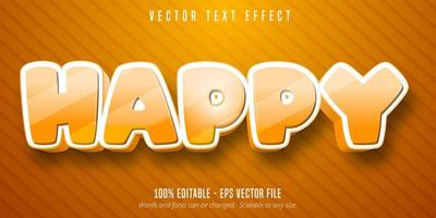 Dotted orange happy cartoon style editable text effect