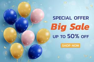 Sale Banner Design with Balloons and Confetti