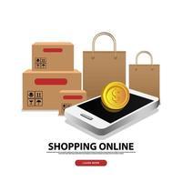banner de compras online e modelo de postagem de mídia social