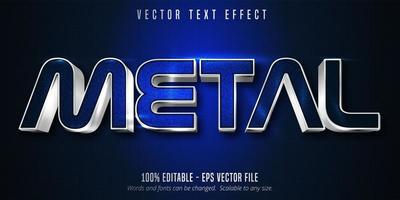 efecto de texto editable de contorno plateado de metal azul