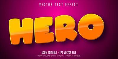 efecto de texto editable de dibujos animados de héroe degradado amarillo naranja