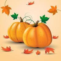 Pumpkins and Leaves Design vector