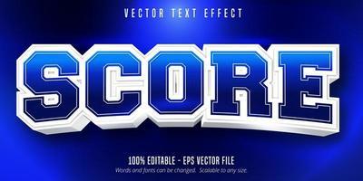 efecto de texto editable de estilo deportivo de puntaje azul vector