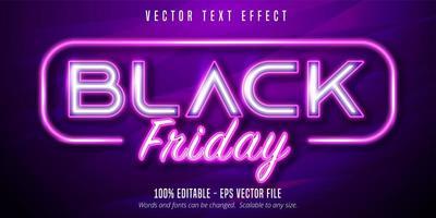 efecto de texto editable de estilo de señalización de luces de neón de viernes negro vector