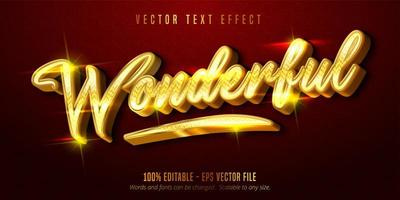Wonderful shiny golden style editable text effect vector