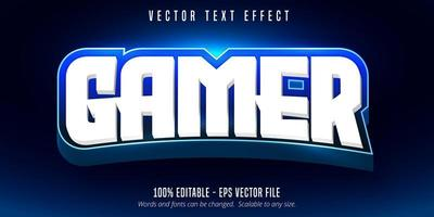 effet de texte modifiable de style e-sport gamer blanc et bleu