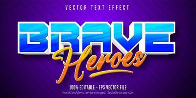 efecto de texto editable de dibujos animados de héroes valientes azul y naranja