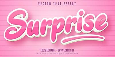 Glossy pink surprise cartoon style editable text effect