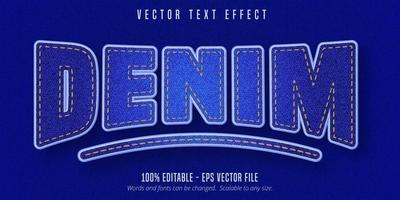 efecto de texto editable estilo denim realista vector