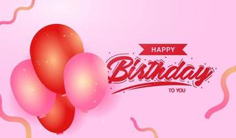 Birthday design with red and pink balloons vector
