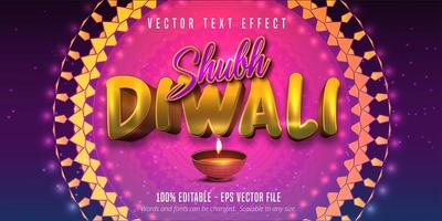 Shubh Diwali text, traditional style editable text effect vector