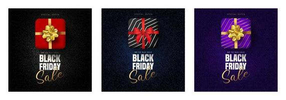 Black Friday sale lettering, gift boxes in 3 colors