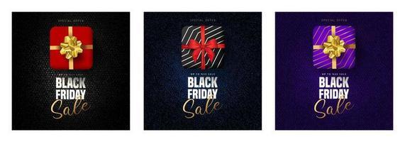 Letras de venta de viernes negro, cajas de regalo en 3 colores. vector