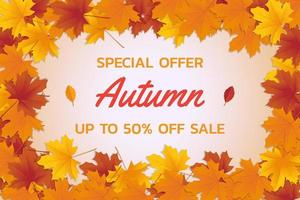 Autumn Sale Leaf Frame vector