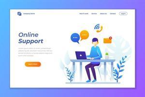 página de inicio de servicios al cliente de soporte en línea vector