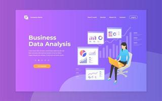 Business data analysis landing page design template