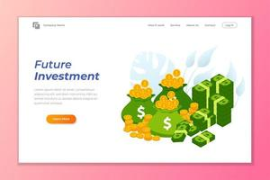 Pile of coins and banknote future investment landing page vector