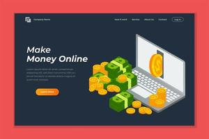Make money online banner landing page vector