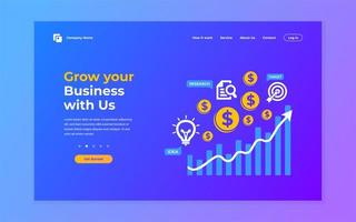 Blue and purple business growing landing page