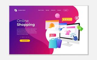 Landing page template for online shopping vector