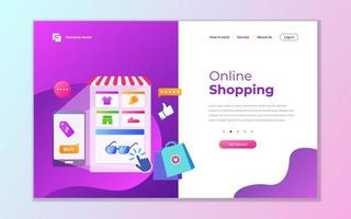 Modern purple mobile online shopping landing page vector