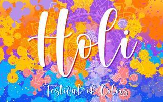 gelukkig holi festival posterontwerp met kleurrijke achtergrond
