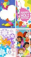 vier achtergrondontwerp met gelukkig holi festival thema