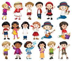 Gran conjunto de niños, niñas en diversas actividades en blanco.