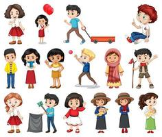 Large Set of Boys, Girls in Various Activities on White vector