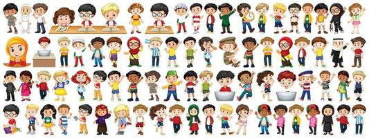 Children of Various Nationalities on White Background vector