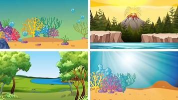 Set of Scenes in Nature Setting vector